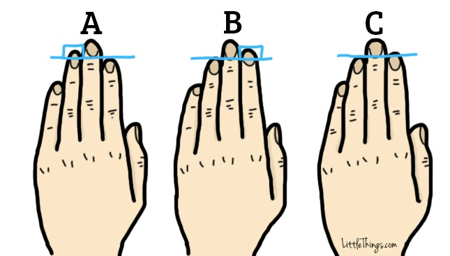 "To see what your fingers say about you, straighten out your left hand and compare it to the images below. Hand ""A"" means your ring finger is longer than your index finger. Hand ""B"" means your index finger is longer than your ring finger. Hand ""C"" means your ring and index finger are the same length."